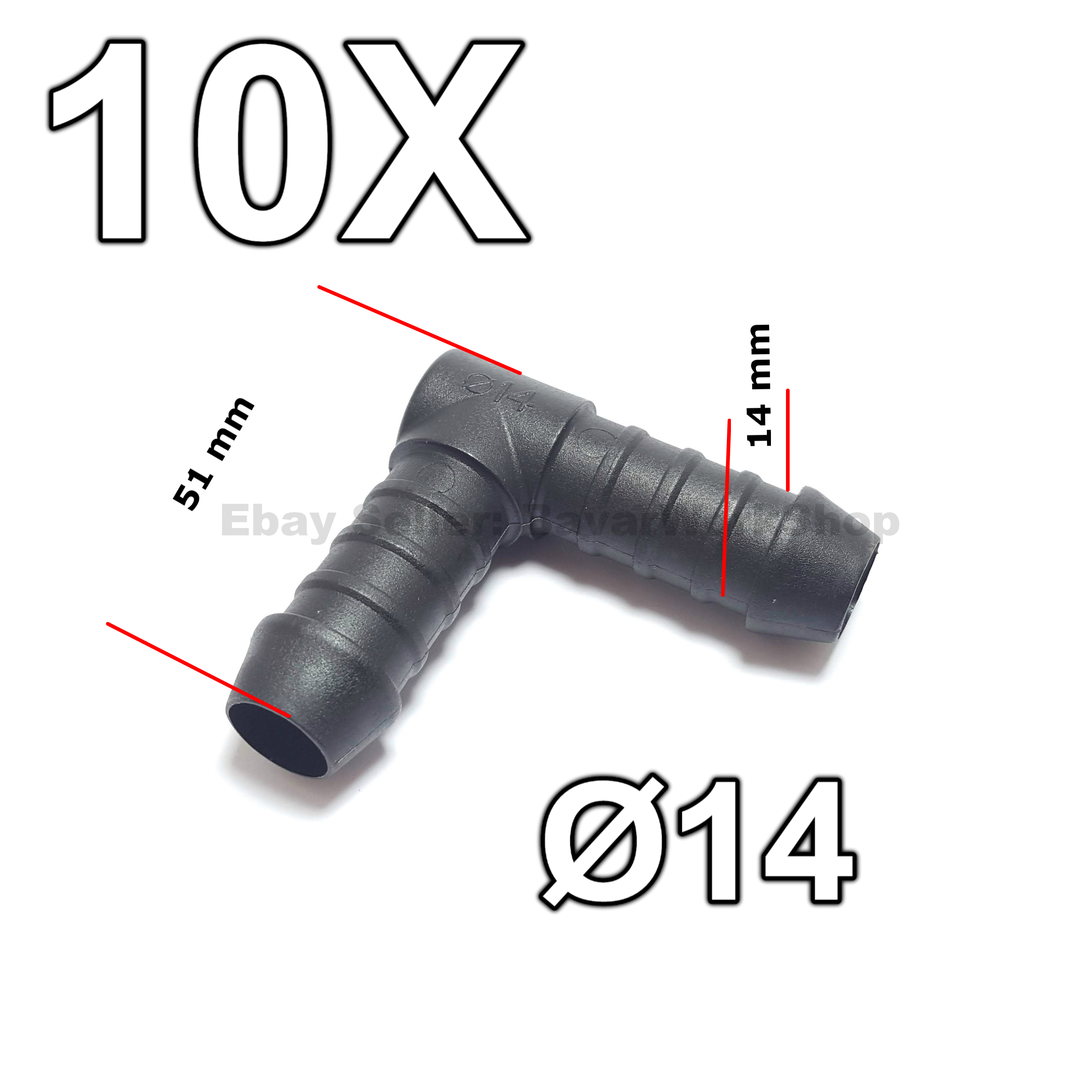 2X 4mm to 8mm L-Type 90 Degree Reducing Hose Tube Connector for Air Fuel Water
